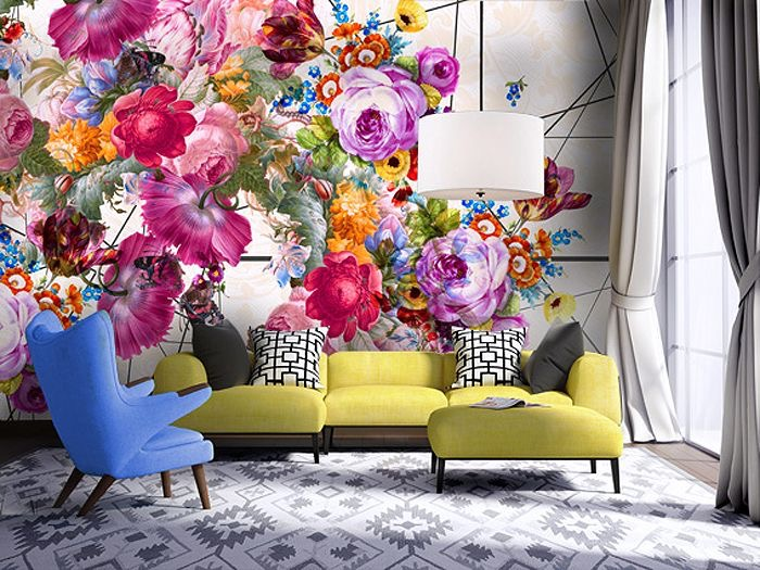 Wallpapers' Bold Floral Bouquets Fused with Fashion
