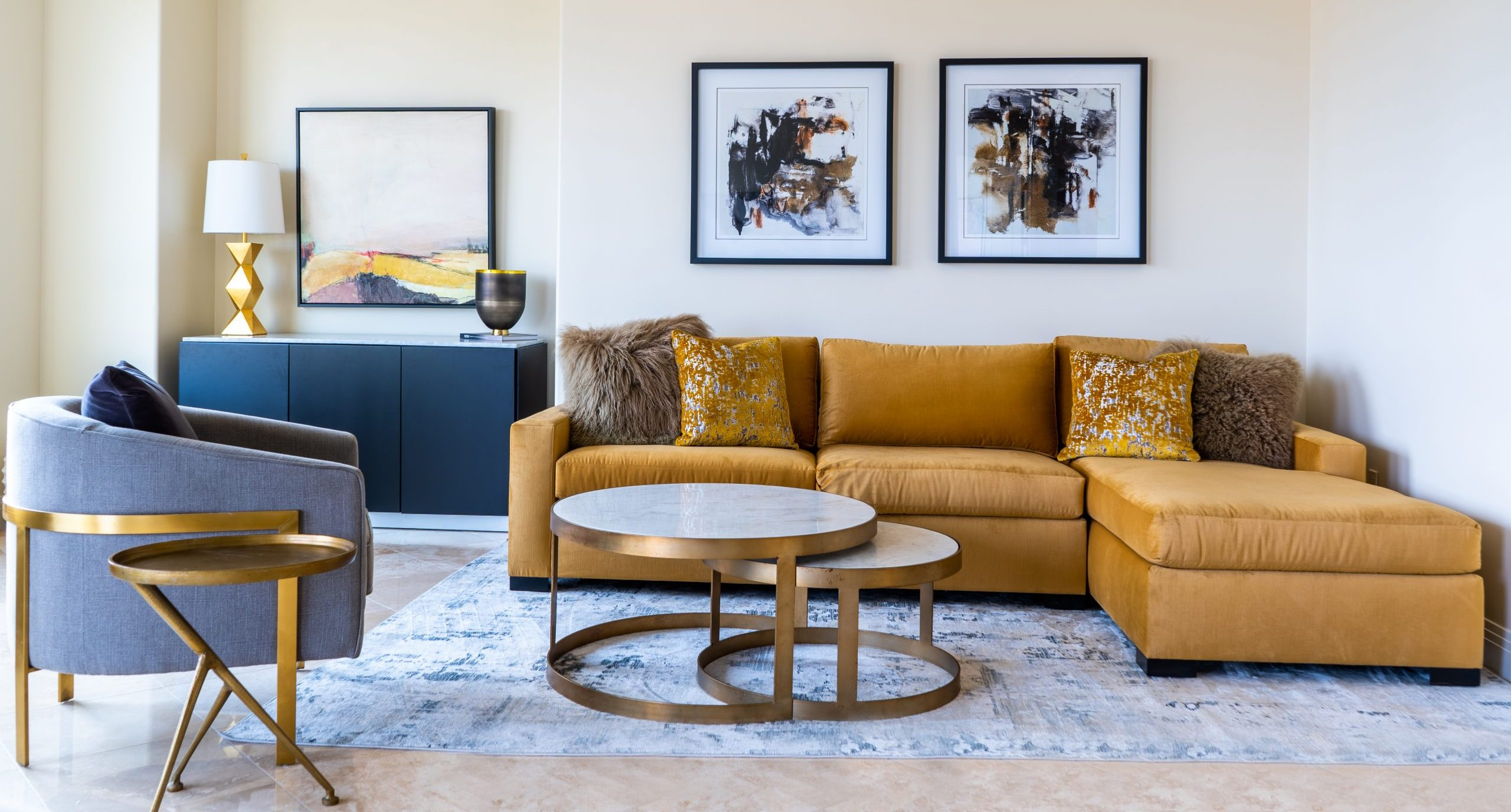 Contemporary Gold and Grey Living Room